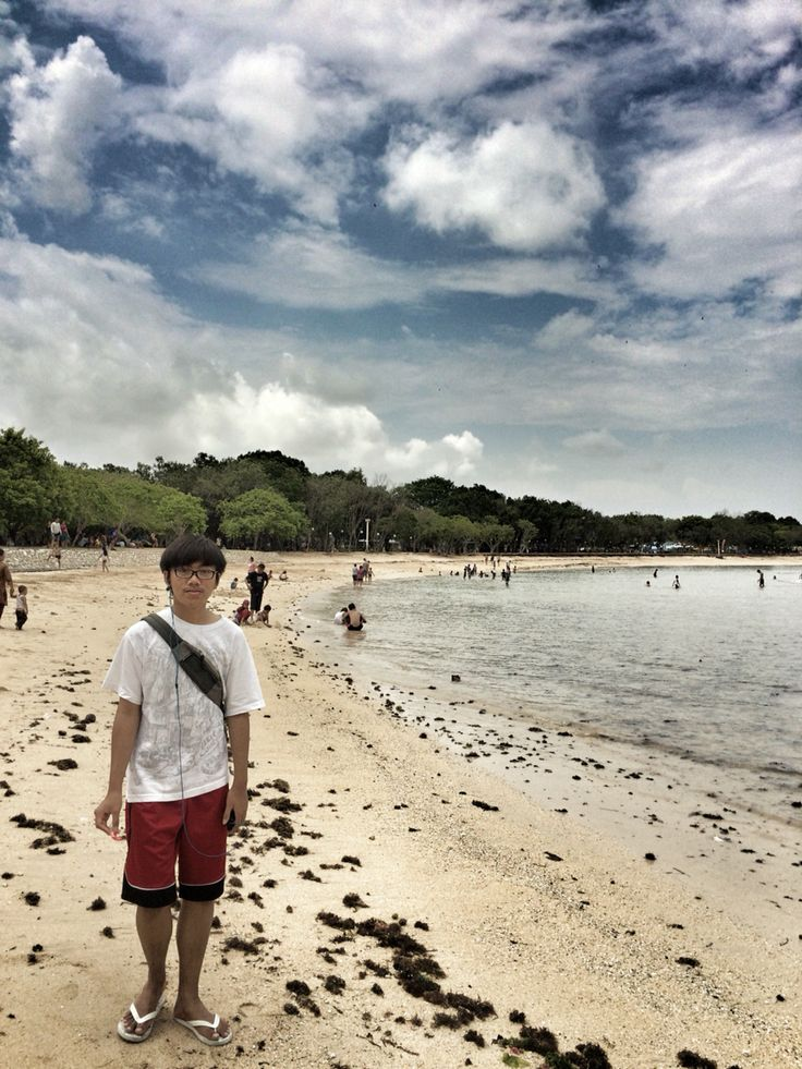 Playing on the beach of Nusa Dua