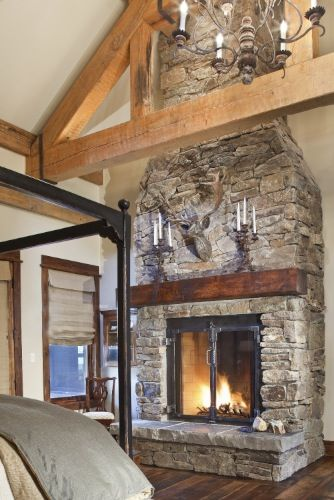 I'm loving the size of the firebox and surround in this timber frame home by: Daniel J. Murphy Architect, PC :: Portfolio