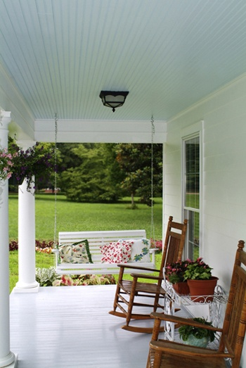 White House Blue Shutters Porch