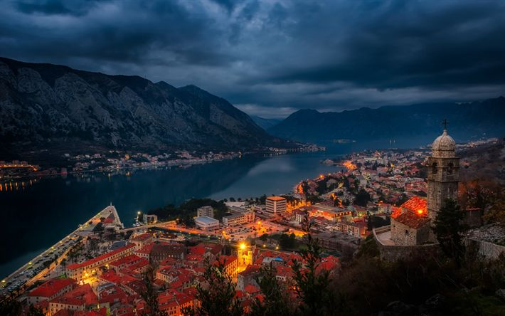 Download wallpapers Kotor, Montenegro, evening, city lights, fjord, Kotor bay