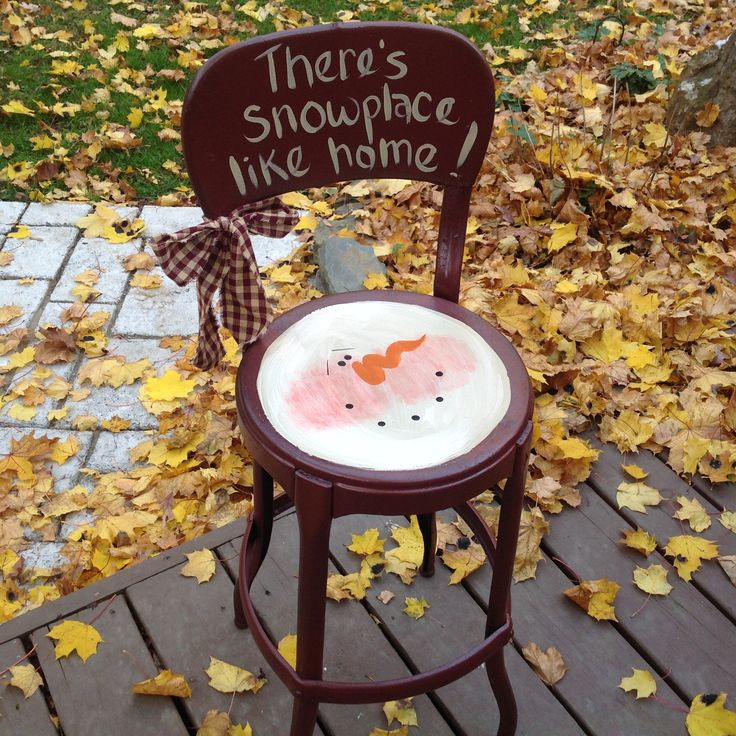 Snowman painted on vintage stool Calico Cottage