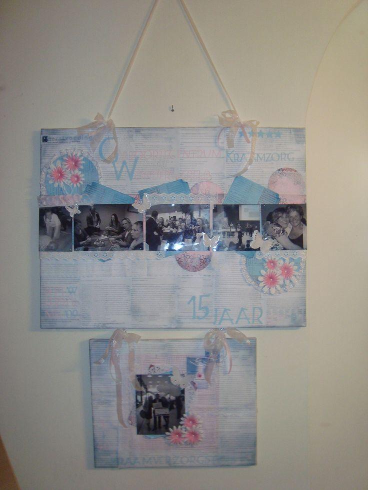 Dit is een canvasdoek ter ere van het 15 jarig bestaan van ons kraambureau Wonderwereld in Hoofddorp. Deze canvasdoek is bekleed met uitgeprint papier van onze protocollen. Daarna heb ik er hier en daar verf overheen geschilderd, foto's erop verwerkt en versierd met linten en kant.