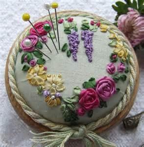 Love the silk ribbon embroidery - elegant