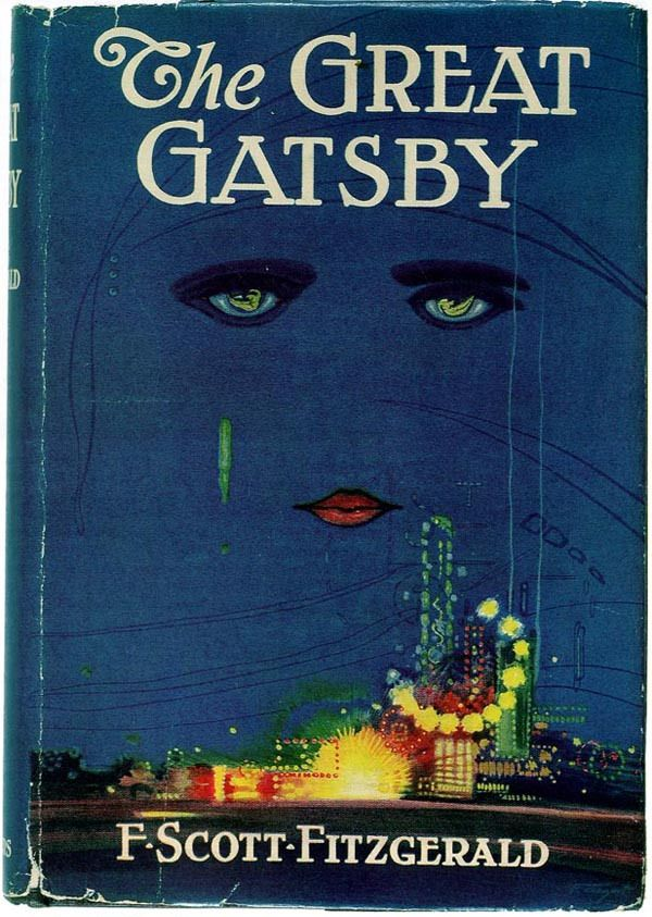 """The Great Gatsby, F. Scott Fitzgerald, 1925. Francis Cugat, a relatively unknown artist at the time, was commissioned to design the cover of the novel while Fitzgerald was still working on it — when Fitzgerald saw the cover, finished before the novel, he liked it so well that he told his publisher that he had """"written it into"""" the book. Hemingway, on the other hand, hated it."""