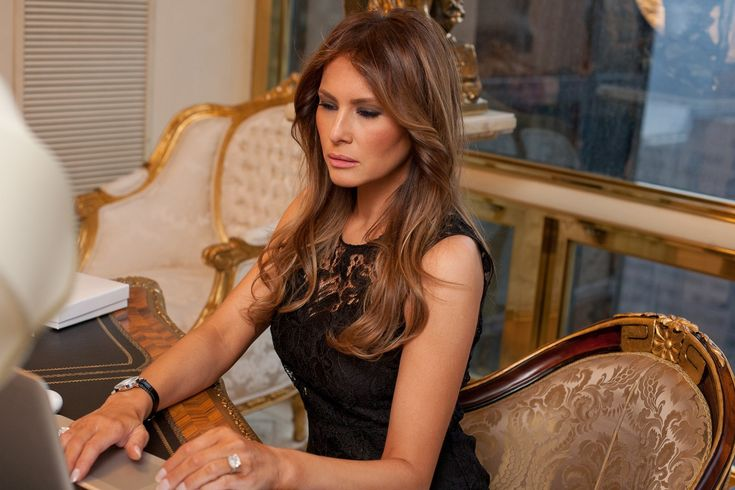 Peek Inside Melania Trump's World (And Penthouse!) #refinery29 http://www.refinery29.com/melania-trump-interview-pictures#slide-20 Melania at work, in her office. Dolce and Gabbana dress, Melania Trump jewelry. Photographed by Sam Horine...