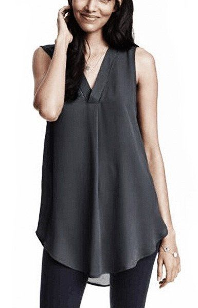 Specifications: Clothing Length:Long Pattern Type:Solid Sleeve Style:Regular Style:Fashion Fabric Type:Chiffon Material:Polyester Collar:V-Neck Sleeve Length:Sleeveless Size Shoulder Bust Length XS 12