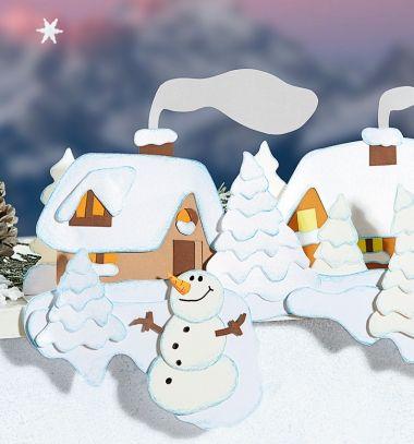 DIY Winter village with snowman - window decor (free printable) // Téli táj hóemberrel - ablakdekoráció papírból (sablonnal) // Mindy - craft tutorial collection // #crafts #DIY #craftTutorial #tutorial