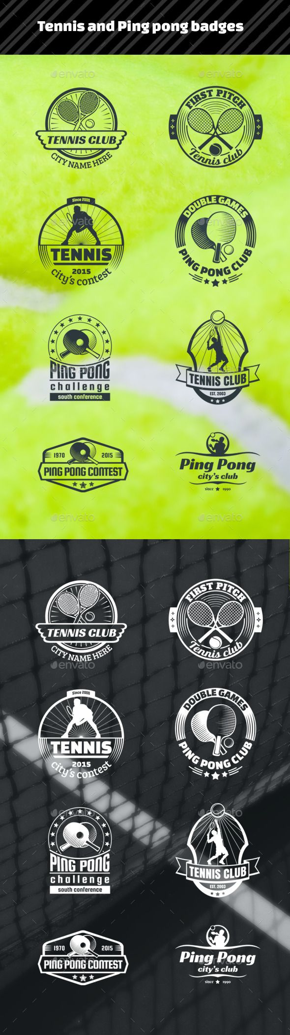 Tennis and Ping Pong Badges #design Download: http://graphicriver.net/item/tennis-and-ping-pong-badges/12003144?ref=ksioks