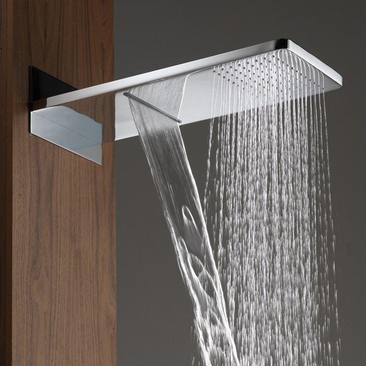 slimline  function fixed rain waterfall shower head vannaya pinterest shower heads