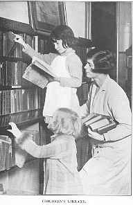 Photo of children selecting books in the Children's Library, 1930. The librarian assisting is probably Miss Jocelyn McCallum, the Children's Librarian from 1924-1946.