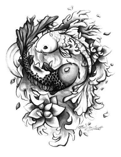 Yin yang tattoo with lotus