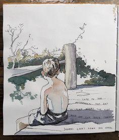 EOBrownArt: sketchbook page, ink and watercolor
