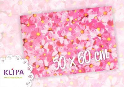hartie de calc, klipa, flori, roz, fuchsia, hartie pentru invitatii, hartie speciala, hartie craft, ambalare cadouri, aplicatii craft, 500x600mm