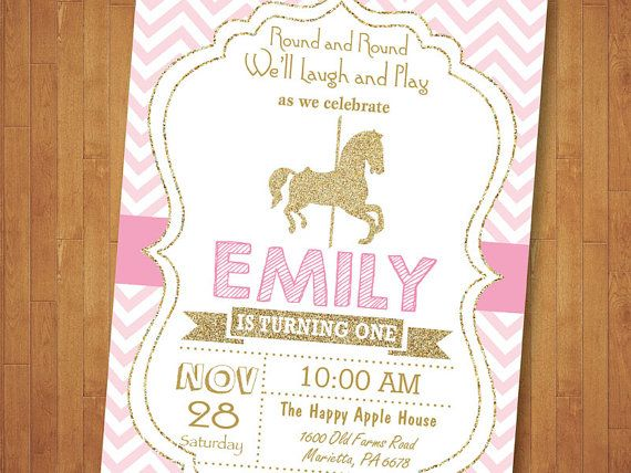Carousel Birthday Invitation. Carousel Party by happyappleprinting