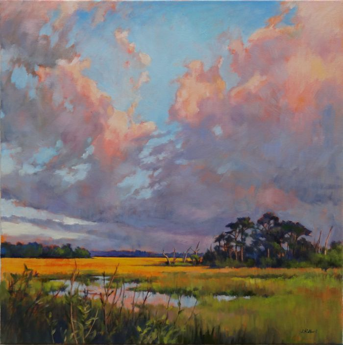 Clouds Over Marsh View Park Kiawah Oil 30 X 30 Colorful Art In 2019 Pastel Landscape