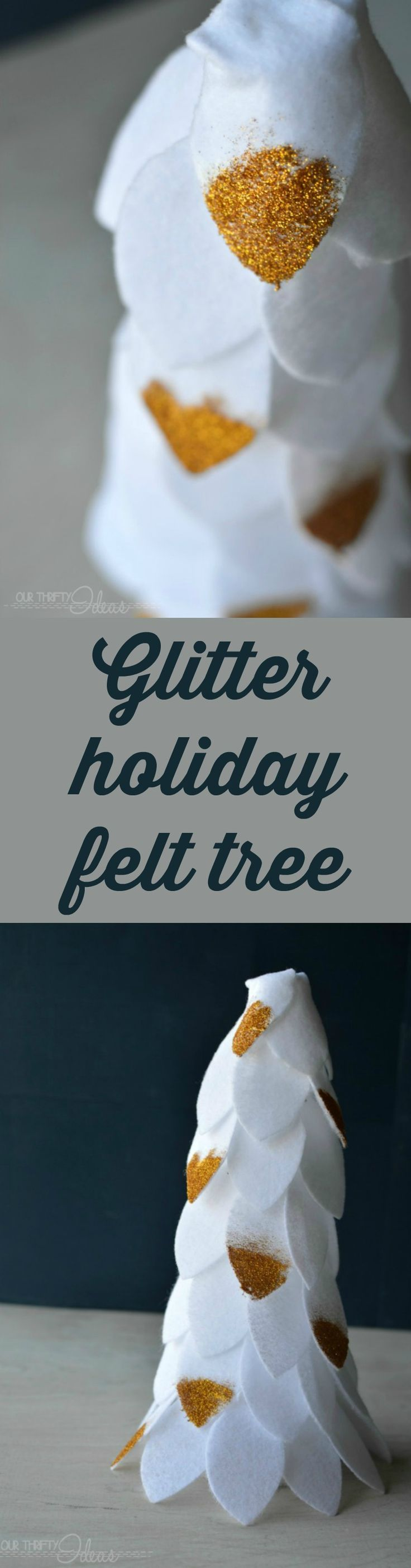 For a simple way to spice up your holiday decor, check out this felt DIY Christmas tree project using your favorite metallic glitter.