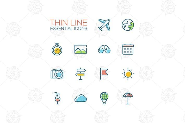 Travel Symbols - thick line design icons set by decorwm