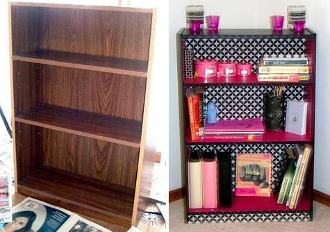 Get this shelf already black for $18 from walmart: http://www.walmart.com/ip/Ameriwood-3-Shelf-Bookcase-Multiple-Finishes/17480009?findingMethod=rr or go with the picture and spray paint one of these, $15 from walmart: http://www.walmart.com/ip/Ameriwood-3-Shelf-Bookcase-Multiple-Finishes/17480009?findingMethod=rr Paint the bottom of the shelves pink, and all scrapbook paper to the back with modge podge. You're welcome (;