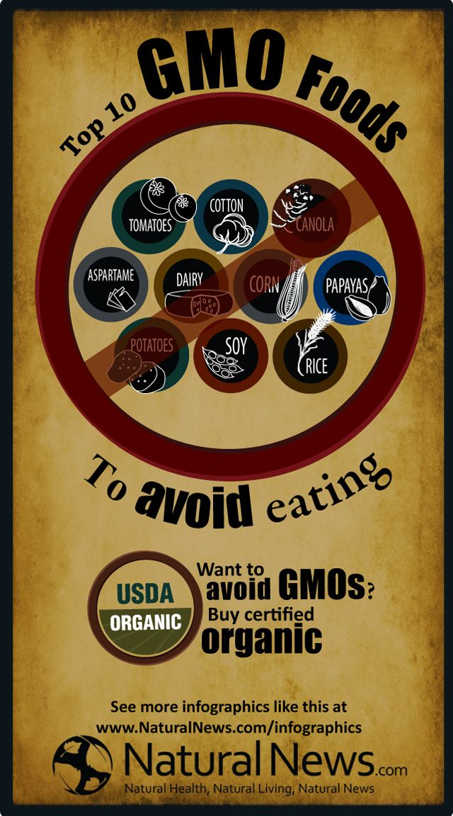 If you can't eat organic, at least avoid as much GMO foods as possible.