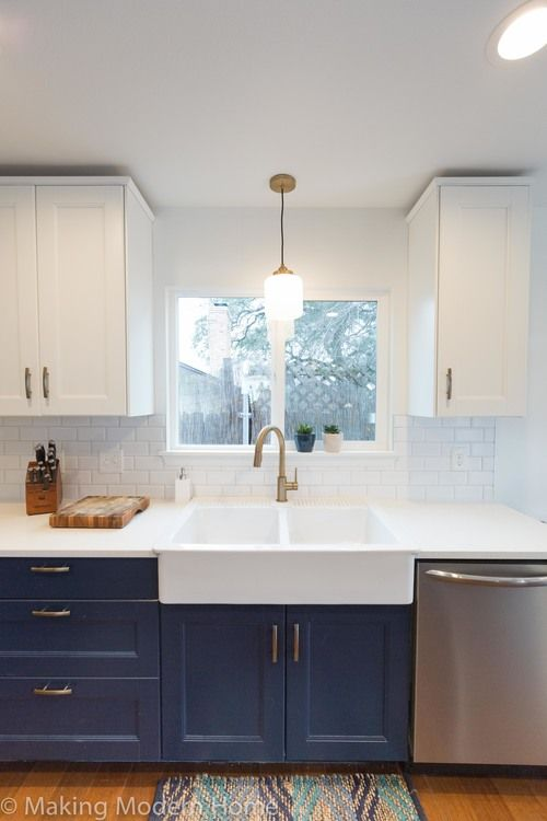 Navy & White Kitchen, Brass Fixtures, Farmhouse Apron Sink