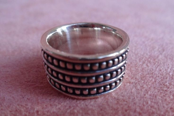 Retired James Avery Sterling Silver Triple Beaded Wide Band Ring 5 Rare…