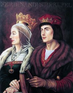 Ferdinand II of Aragon (1452-1516) and his Queen, Isabel of Castile (1451-1504) Catherine of Aragon's parents. Married in October 1469.  With evenutal peace assured at home, Ferdinand and Isabella quickly agreed to sponsor an expedition across the Atlantic Ocean to be led by the now well known sea captain, Christopher Columbus.