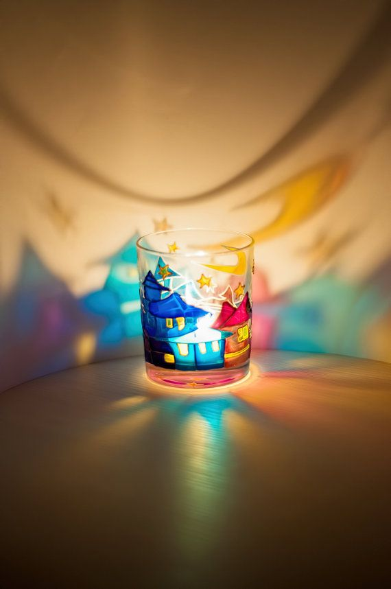 Hand Painted Glass Candle Holder Town in the night by Vitraaze