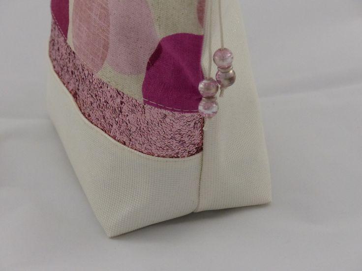 Trousse maquillage simili swarovski crème , lin et sequins rose