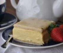 Vanilla Slice with Passionfruit Icing