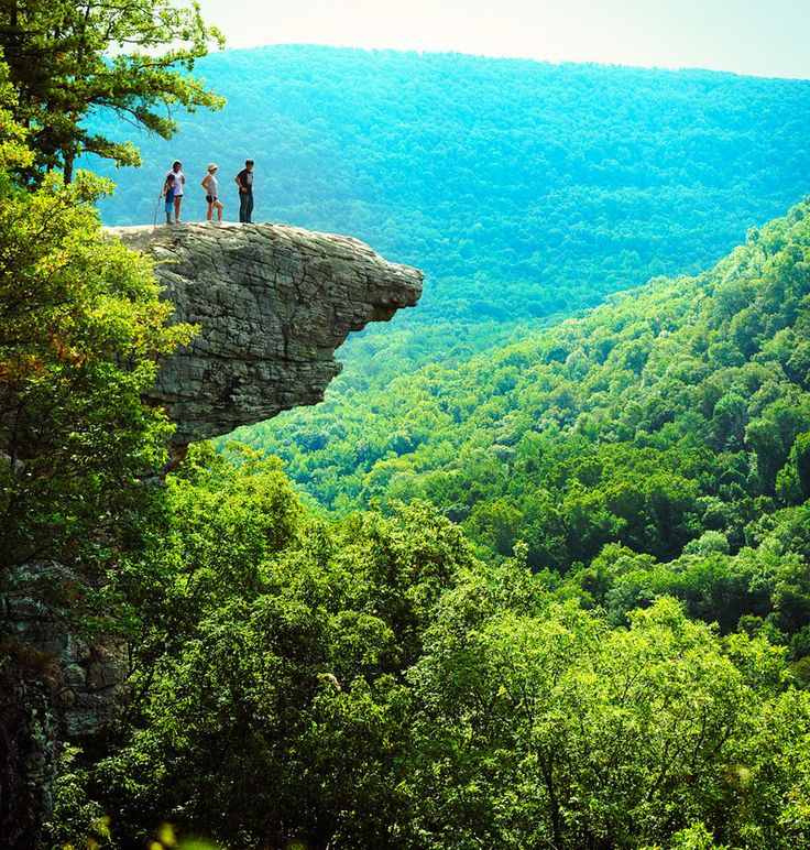ARKANSAS....Hawksbill Crag Trail or Whittaker Point Is located in the Ozark Forest , Arkansas, USA.  Hawksbill Crag Trail is a very popular hiking destination and some say it's Arkansas's most photographed rock. The trail is marked with red triangles  black arrows. Hawksbill Crag Trail offers amazing scenery.  There are a few water falls along the way and at the the end of September – November the autumn leaves paint the valley in red, yellow golden brown makes it breathtaking.
