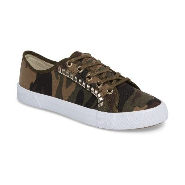 Women's Jack Rogers Carter Sneaker ($55) ❤ liked on Polyvore featuring shoes, sneakers, camouflage fabric, white sneakers, jack rogers shoes, white trainers, metallic sneakers and white low top shoes