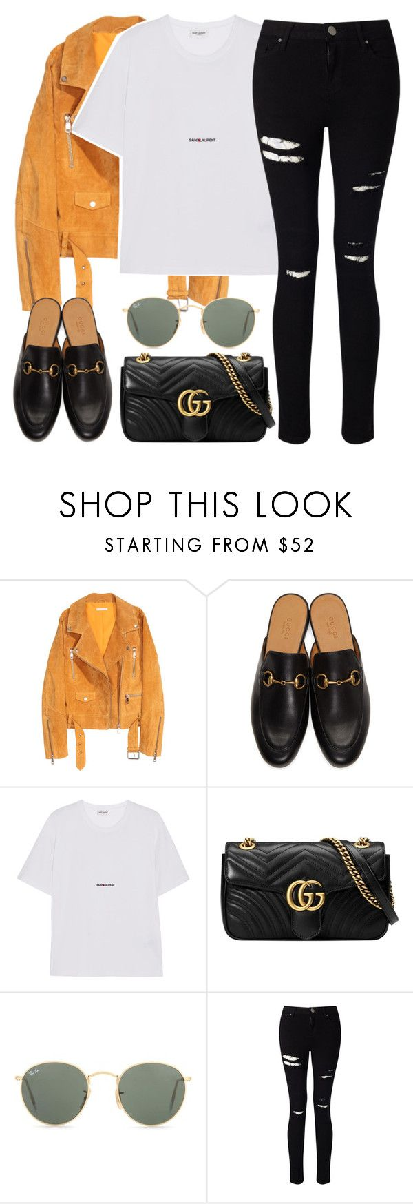 """""""Untitled #3219"""" by elenaday ❤ liked on Polyvore featuring SKINN, Gucci, Yves Saint Laurent, Ray-Ban and Miss Selfridge"""