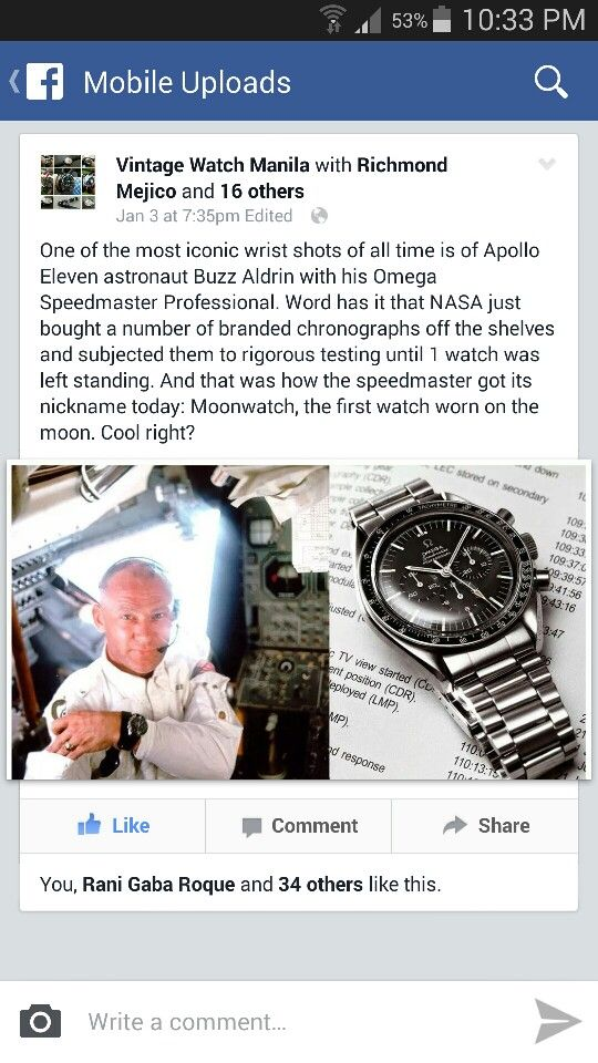 Trivia on Buzz Aldrin with his Omega Speedmaster Professional aka Moonwatch by fb: Vintage Watch Manila