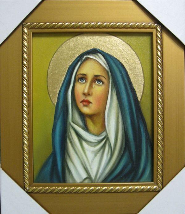 Дева Мария Скорбящая (холст,масло,20х25,2016 г.)-художник Ядвига Сенько