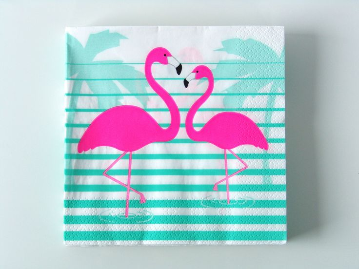 Serviette jetable en papier flamant rose tropical - Achat / Vente