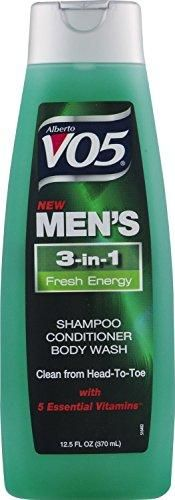 3 Pk, Alberto VO5 Men's 3-in-1 Shampoo Conditioner Body Wash Fresh Energy, 12.5oz