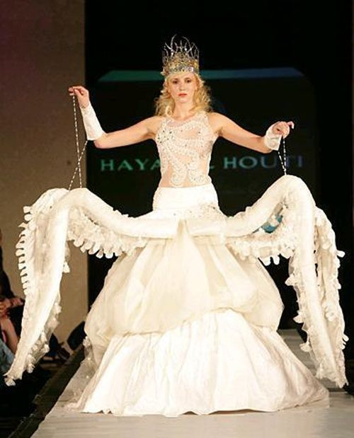 6 Crazy Wedding Dresses | The Inspired Bride  THE OCTOPUS ONE THO. IT SHALL BE. MY WEDDING DRESS (not really BUT COME ON).
