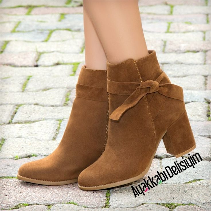 Fiyonklu Şık Topuklu Bootie #boots #brown #shoes #woman #fashion