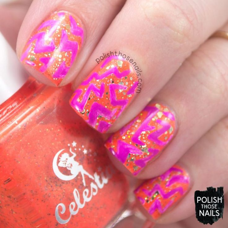 Zig-Zaggin' // Polish Those Nails // The Digit-al Dozen - Stamping // Inspired by Marianne Nails // celestial cosmetics - cult nails - indie polish - nail art - neon
