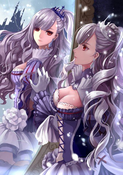 Anime picture 				1000x1414 with  		original 		monogo 		long hair 		tall image 		red eyes 		cleavage 		profile 		grey hair 		reflection 		wavy hair 		girl 		dress 		gloves 		crown 		white gloves 		mirror