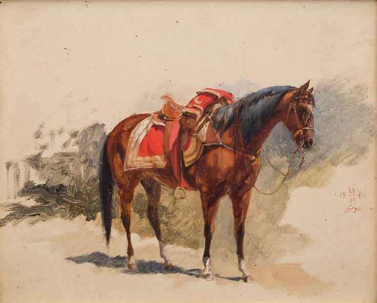 Stanisław Chlebowski: Bachmat, 1866 r. olej, tektura, 21 × 25 cm w świetle oprawy sygn. monogramem wiązanym i dat. p. śr.: 18 27/VII 66