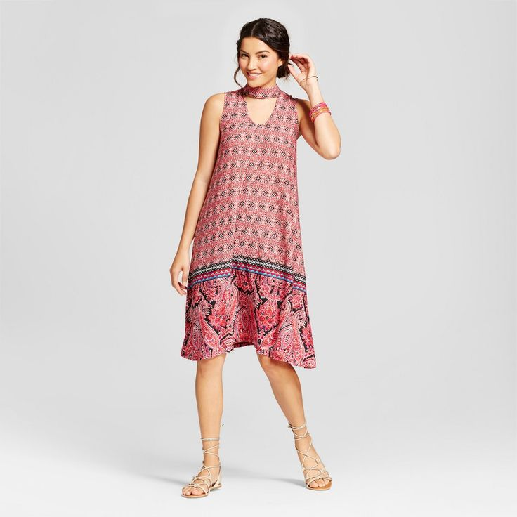Women's Choker Neck Border Printed Knit Dress - JohnPaulRichard - Red Combo XL