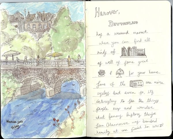From my Moleskine - Hannover in stabilo pen and watercolours   Tali Kord