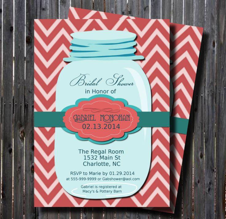 Printable Mason Jar Teal Bridal Shower Invitation Chevron