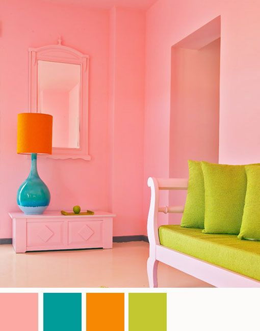 bright and cheerful color scheme total spring!: Colors Combos, Color Schemes, Spring Colors, Pink Rooms, Schemes Totally, Colors Palettes, Colors Schemes, Cheer Colors, Bright Colors