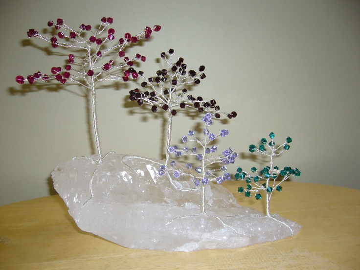 Family Forest-Birthstones made from swarovski crystals.  This one shows July, January, December and May and a quartz crystal base.