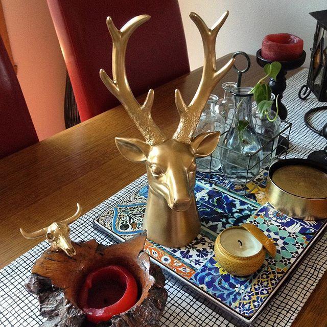 Having some fun spray painting a few home decor items #home #decor #spray paint #gold #deerhead #tablewear