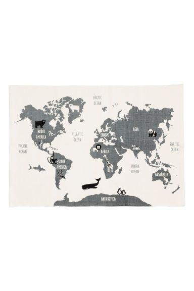Bavlněný kobereček s mapou - Bílá/zvíře - HOME   H&M CZ 1