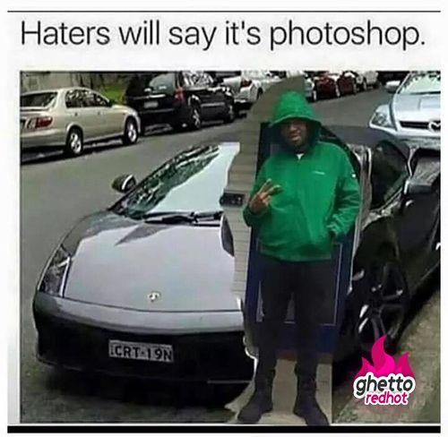 It's dank comedy because he is actually photo shopped when he is saying he isn't