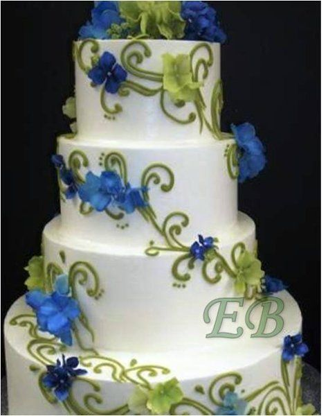 blue and green Wedding Cakes with Flowers   Wedding Cakes Photos